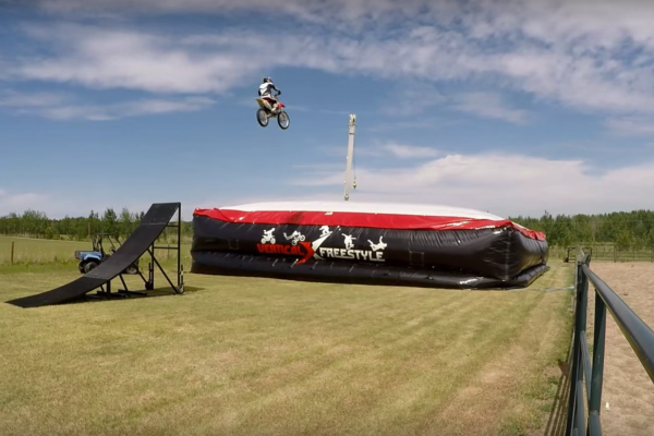 FMX tricks are learned first on a BigAirBag for the ultimate safe landing