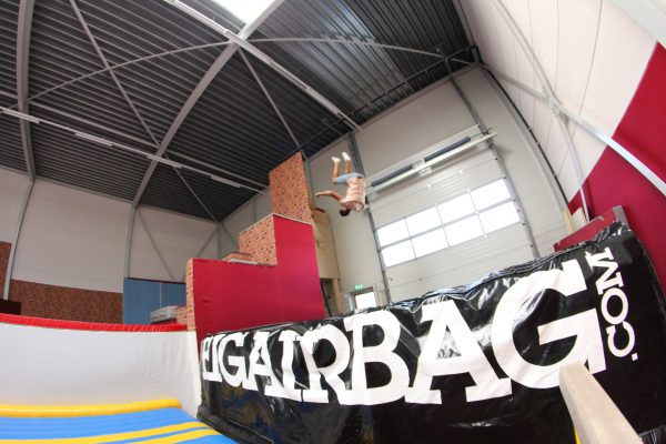 Freestanding BigAirBag in gymnastics hall