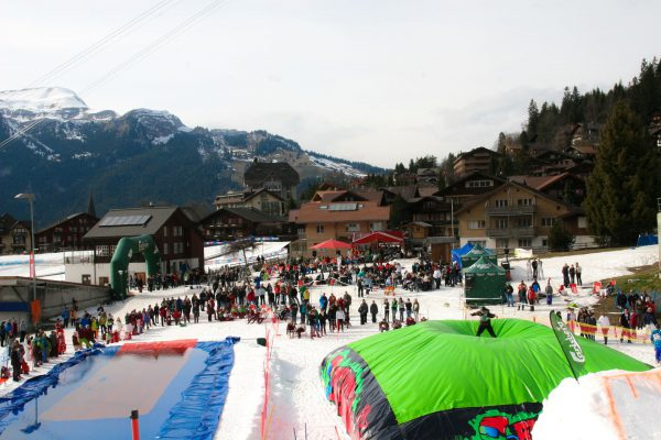 Wengen Switzerland attracts people with their BigAirBag Freestyle