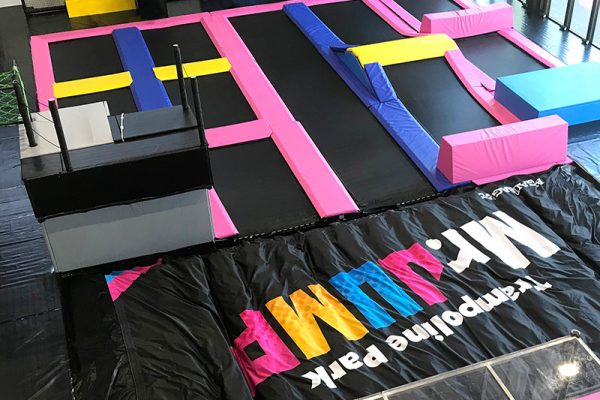 Colorful trampoline park and BigAirBag FOAM PIT