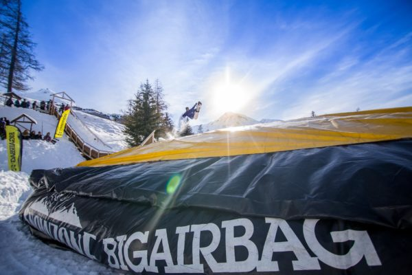 Launched from the ramp into the BigAirBag REVOLUTION in Val Cenis