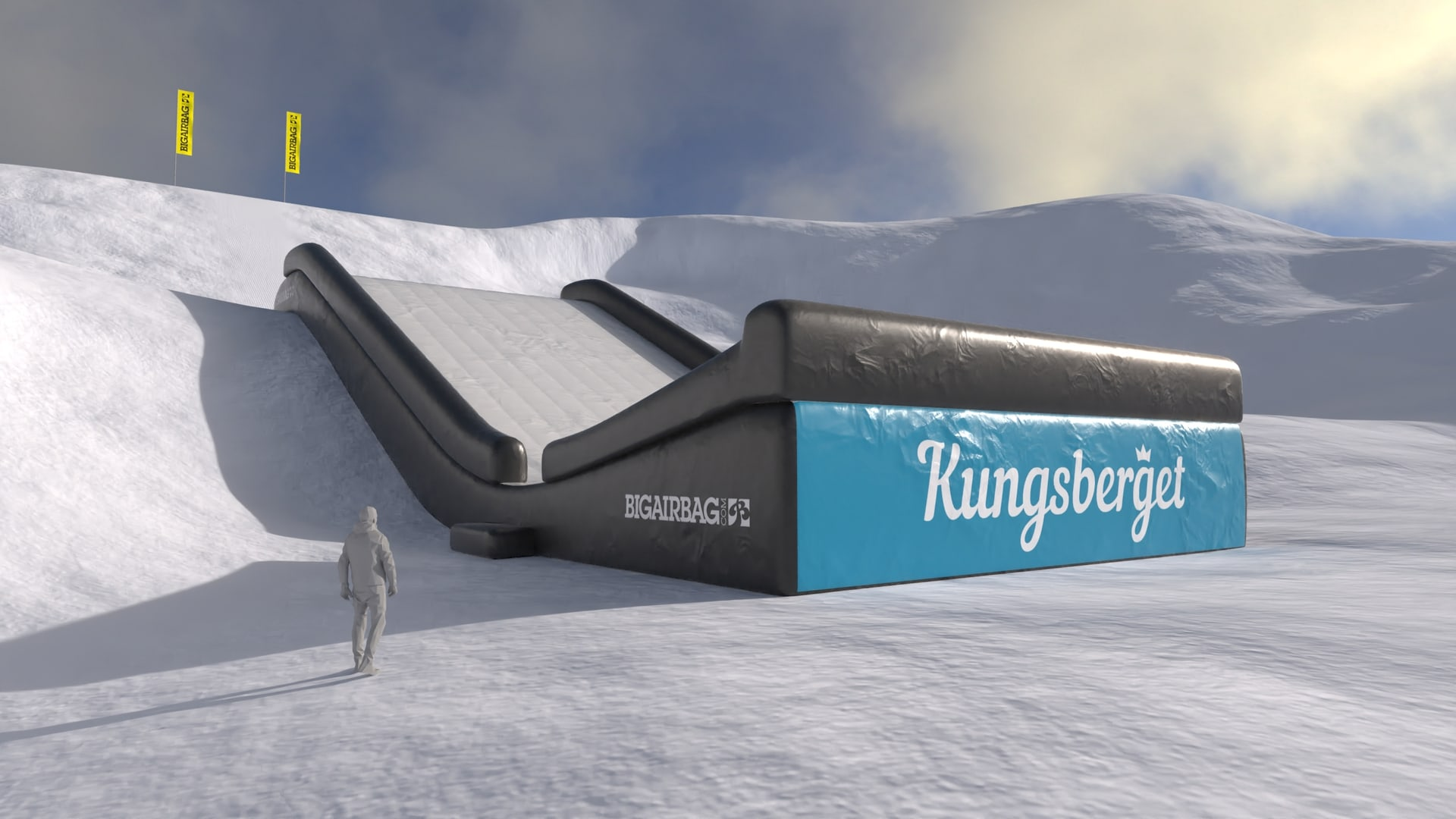 Landing airbag for ski resorts